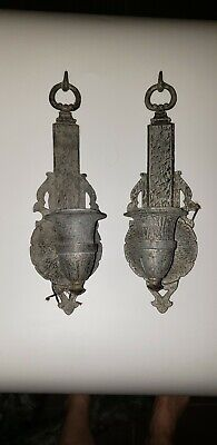 Lot Of 2 Antique Victorian Matching Ornate Wall Sconces Cast Aluminum Restored