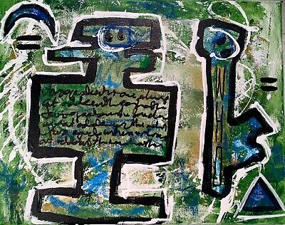 """Outsider Expressionist Conceptual Painting LW Jeffrey 11"""" X 14"""" Odd Identities"""