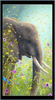 Wildflower ELEPHANT  Artworks Fabric Digital Panel  Quilting Treasures