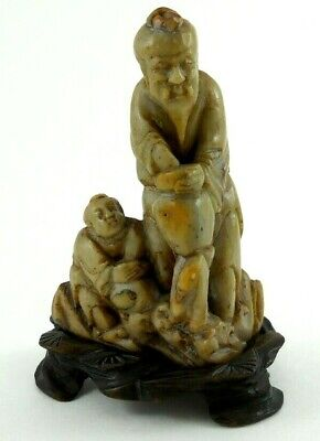 Antique Hand Carved Soapstone Chinese Figures with Wooden Stand
