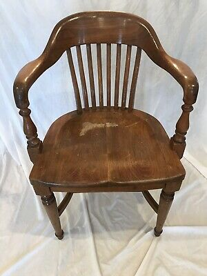 Antique 20's B.L. Marble Chair Co Banker's Chair ~Bank of England~Tiger Oak Wood