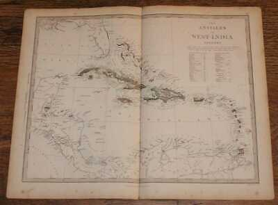 Map of the Antilles or West-India Islands - disbound sheet from 1857 Atlas