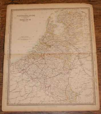 Map of the Netherlands and Belguim - disbound sheet from 1857 Atlas