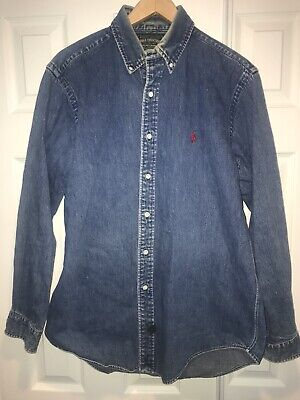 Polo Country Ralph Lauren Mens Button Up Denim Long Sleeve Shirt Size Large C6