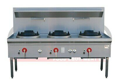 Three Hole Wok Table - 24 Jet Chimney Burner - LKK-3BC