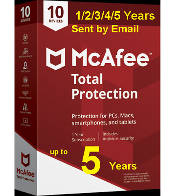 Mcafee Total Protection 2019 10 Devices mac win 1/2/3/4/5 Years Download Version