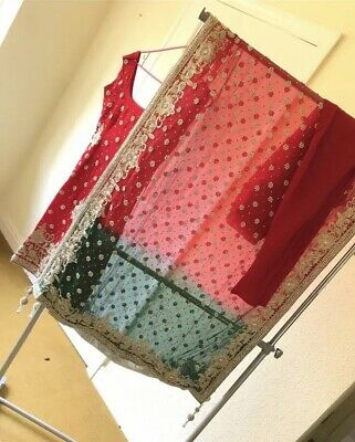 BEAUTIFUL BRAND NEW RED&GREEN BRIDAL ASIAN SUIT OUTFIT READY MADE 10-12 Bargain