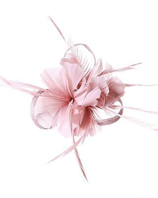 Dusky Pink Feather Clip Fascinator Brooch Pin Ladies Day Royal Ascot Weddings