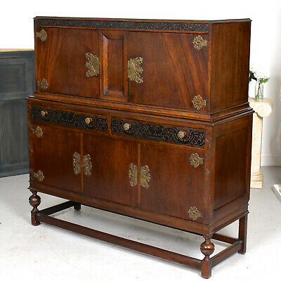 Antique Carved Oak Brass Sideboard Arts & Crafts Cabinet Court Cupboard Country