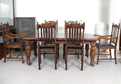 Antique Oak Dining Table And 6 Chairs James Schoolbred Fine Quality Winding C19t