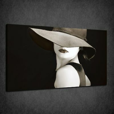 Beautiful Elegant Vintage Woman In A Hat Box Canvas Print Wall Art Picture