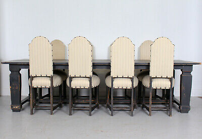 Large Dining Table and 8 Chairs Swedish Gustavian Painted Refectory Table Pine
