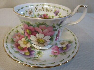"ROYAL ALBERT Flower Of The Month Series ""October"" Cosmos Teacup & Saucer"