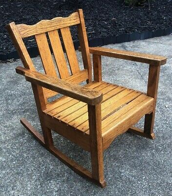 Antique Hand Made Solid Oak Wood Mission Child Kids Rocking Chair Rocker Vintage