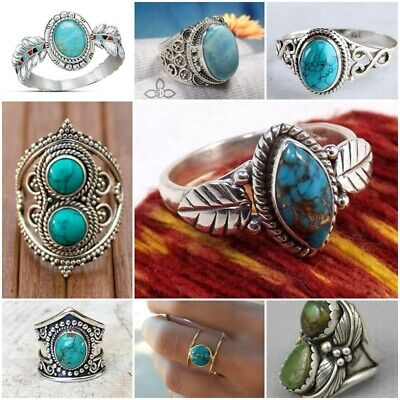 Vintage Turquoise 925 Silver Ring Women Man Wedding Jewelry Party Gift Size6-10