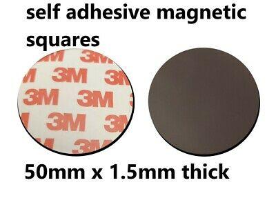 3M Self Adhesive Magnetic tape fridge magnet discs / dots 50mm round x 4 pieces