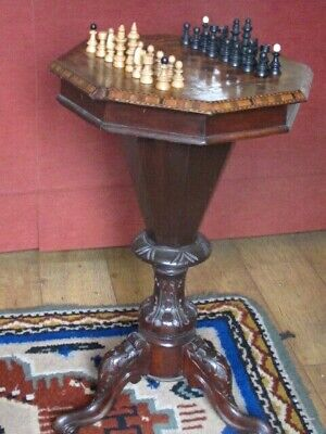 Antique Chess Table Victorian Inlaid Wooden Marquetry Sewing Work Box Hexagonal
