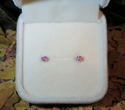 WOW! Natural untreated Pink Sapphire 3mm facet sterling silver stud earrings 💖