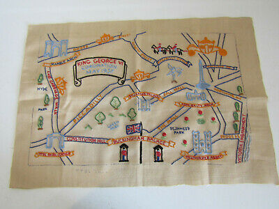 Antique King George VI Coronation 1937 Hand Embroidered Sampler Procession Route