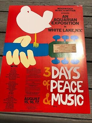 RARE Woodstock Original 1969 Ticket and 1980's Poster Bundle *MINT*.