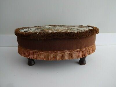 Vintage Oval Sherborne Foot Stool/Seat-tapestry Fabric Cover-Wooden legs-7""