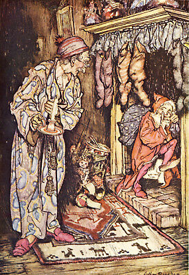 The night before Christmas Arthur Rackham repro glossy Photo Print kids asleep