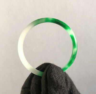 Stunning Matt Light Green Splotches Dark Green Jade Bangle