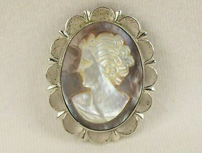 Vintage Sterling Silver & Abalone Cameo Pendant / Pin Brooch