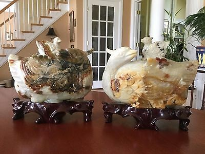 Vintage Chinese Hand Carved White & Russet Nephrite Jade Ducks w/ Wood Stands