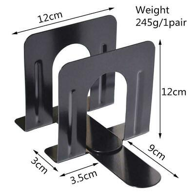 """Non Skid Bookends Solid Metal 120""""mm High One Pair Black-Metal 2 Bookends o I9M4"""