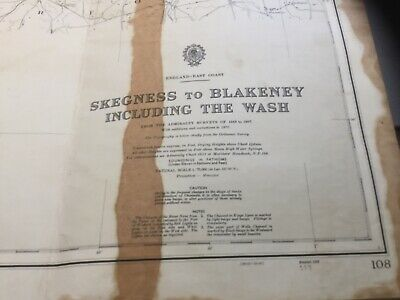 Vintage Nautical Chart - Skegness To Blakeney Including The Wash - Admiralty