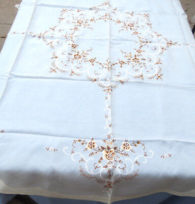 "Antique Chinese Silk Hand Embroidered Floral Tablecloth 67"" Round New"