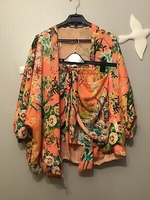 Zara Floral Two Pieces Co Ord Suit Kimono Coat And Skirt Size S