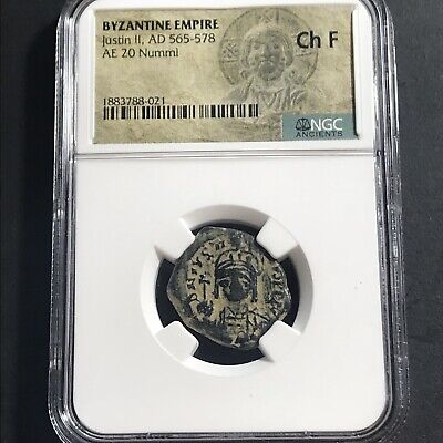 Justin II AD 565-578 AE 20 Nummi NGC Fine Ancient Byzantine Empire Coin