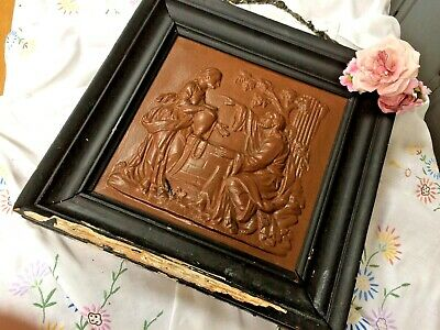 Antique Framed Victorian Cast Iron High Relief Raised Figural Plaque