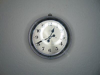 Chrome French Wall Bulle Art Deco Electrical Pulse School Clock