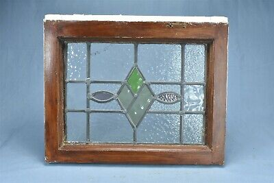 Antique  STAINED GLASS WINDOW DIAMOND TEARDROP DESIGN TEXTURED CLEAR GLASS 08182