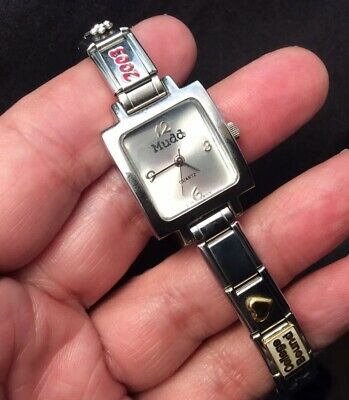 Mudd Silvertone Square Face College Bound D'LinQ Charms Quartz Watch Works