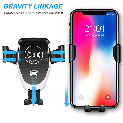 Automatic Qi Wireless Car Charging Charger Mount Clamping Vent Phone Holder 2in1