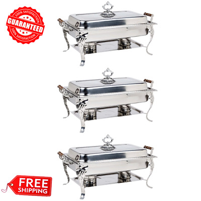 3/PACK Catering Classic STAINLESS STEEL Chafer Chafing Dish Set 8 QT Buffet Full