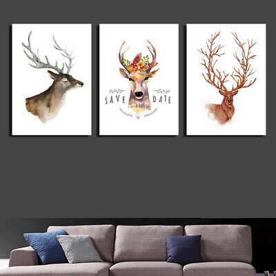 Am_ Home Decor Nordic Deer Canvas Painting Animals Poster Wall Art Picture Cleve