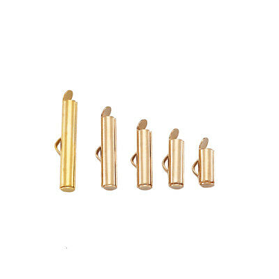 100PCS Brass Slide On End Clasp Tubes Slider End Caps For Jewelry Making Golden