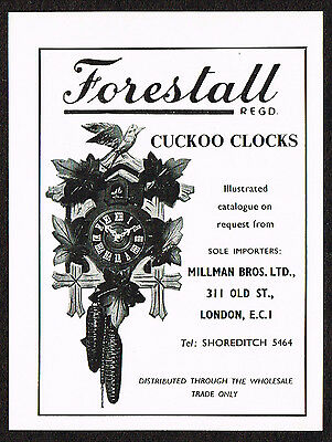 1950s Small Vintage 1956 Forestall Cuckoo Clock Paper Print Ad
