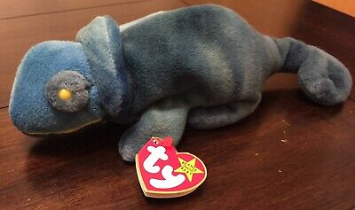 Rare Vintage Brand New With Tags Ty Beanie Baby Rainbow The Chameleon Iguana '97