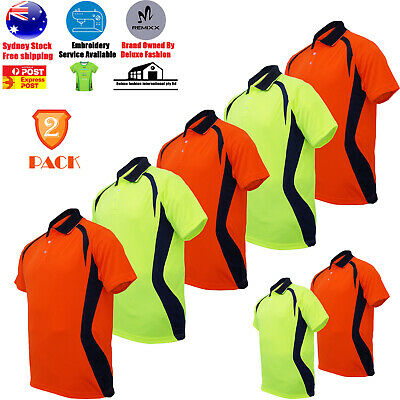 2 PACK High-Vis Panel Polo Breezeway Quick Dry Workwear Short Sleeve Shirt Top