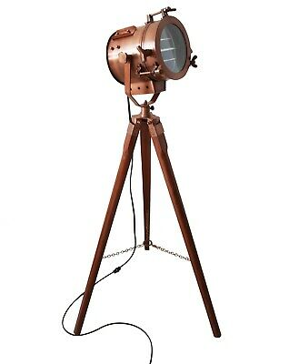 Antique Vintage Copper Old Century Wooden Tripod Searchlight Adjustable Stand