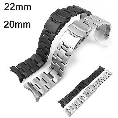 Curved Matte 316L Stainless Steel Band Metal Bracelet Double-Lock Secure Buckle