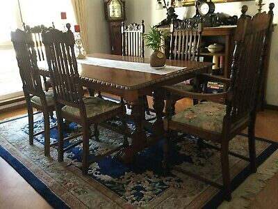 Antique 6 chair dining setting