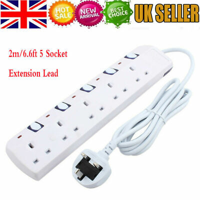 UK Extension Lead Cable Electric Mains Power 4 5 6 Gang Way Plug Socket