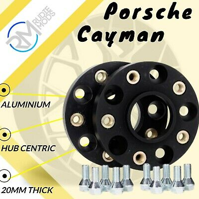 BLACK 5x130 20mm Hubcentric Wheels Spacers to fit Porsche Cayman